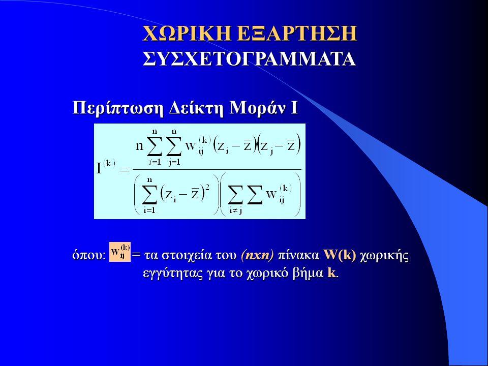 ΧΩΡΙΚΗ ΕΞΑΡΤΗΣΗ ΣΥΣΧΕΤΟΓΡΑΜΜΑΤΑ Περίπτωση Δείκτη Μοράν I όπου: = τα στοιχεία του (nxn) πίνακα W(k) χωρικής εγγύτητας για το χωρικό βήμα k. εγγύτητας γ