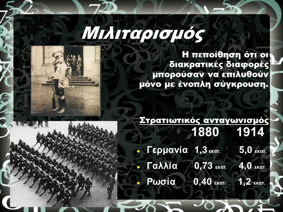 Μιλιταρισμός 1880 1914 Γερμανία 1,3 εκατ. 5,0 εκατ. Γαλλία 0,73 εκατ. 4,0 εκατ. Ρωσία 0,40 εκατ. 1,2 εκατ. Η πεποίθηση ότι οι διακρατικές διαφορές μπο