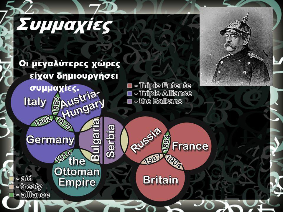 Συμμαχίες Οι μεγαλύτερες χώρες είχαν δημιουργήσει συμμαχίες.