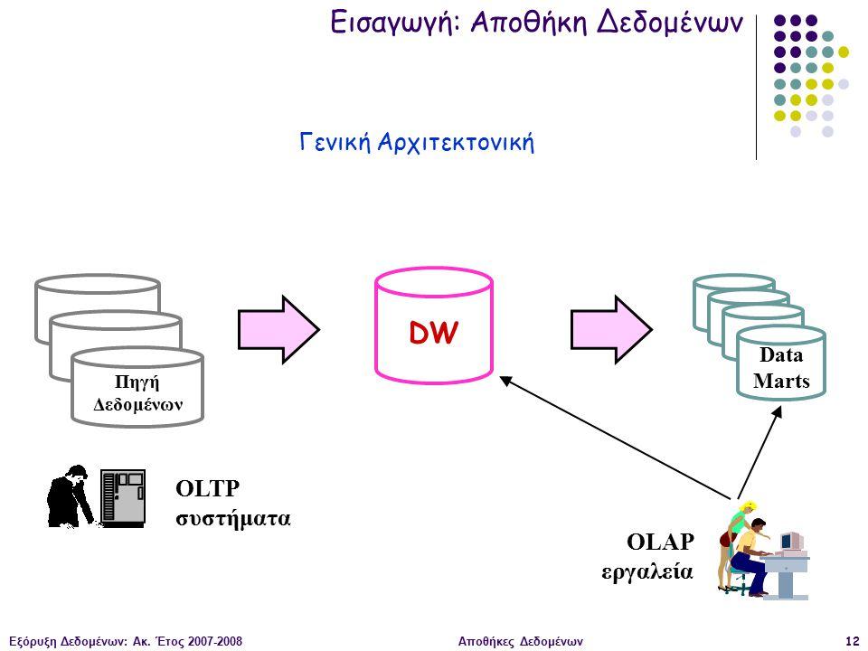 Εξόρυξη Δεδομένων: Ακ. Έτος 2007-2008Αποθήκες Δεδομένων12 Πηγή Δεδομένων DW Data Marts OLTP συστήματα OLAP εργαλεία Εισαγωγή: Αποθήκη Δεδομένων Γενική