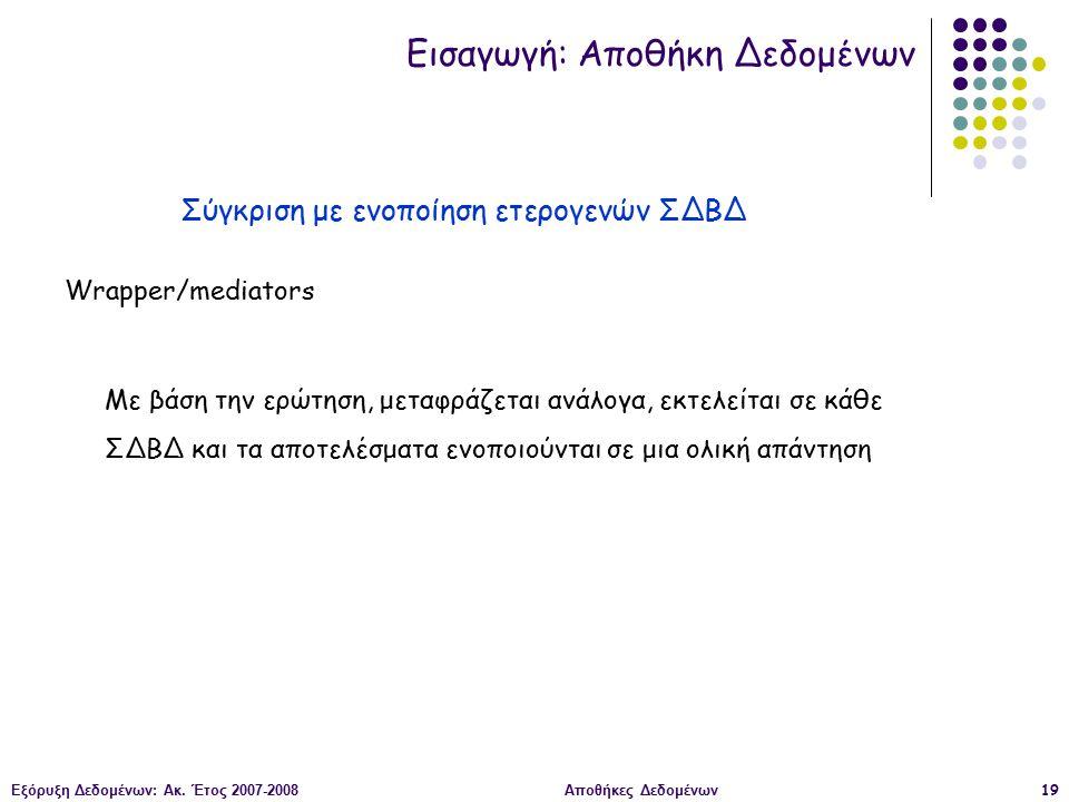 Εξόρυξη Δεδομένων: Ακ. Έτος 2007-2008Αποθήκες Δεδομένων19 Wrapper/mediators Με βάση την ερώτηση, μεταφράζεται ανάλογα, εκτελείται σε κάθε ΣΔΒΔ και τα