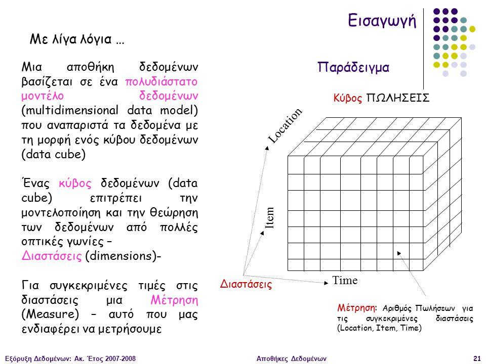 Εξόρυξη Δεδομένων: Ακ. Έτος 2007-2008Αποθήκες Δεδομένων21 Εισαγωγή Μια αποθήκη δεδομένων βασίζεται σε ένα πολυδιάστατο μοντέλο δεδομένων (multidimensi