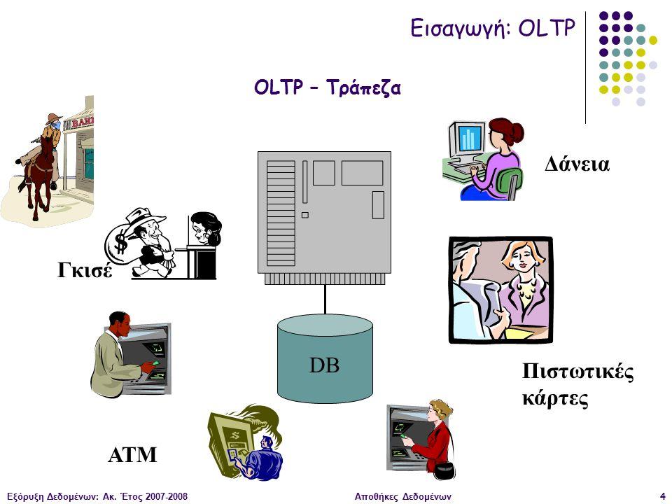 Εξόρυξη Δεδομένων: Ακ. Έτος 2007-2008Αποθήκες Δεδομένων4 DB ΑΤΜ Γκισέ Πιστωτικές κάρτες Δάνεια OLTP – Τράπεζα Εισαγωγή: OLTP