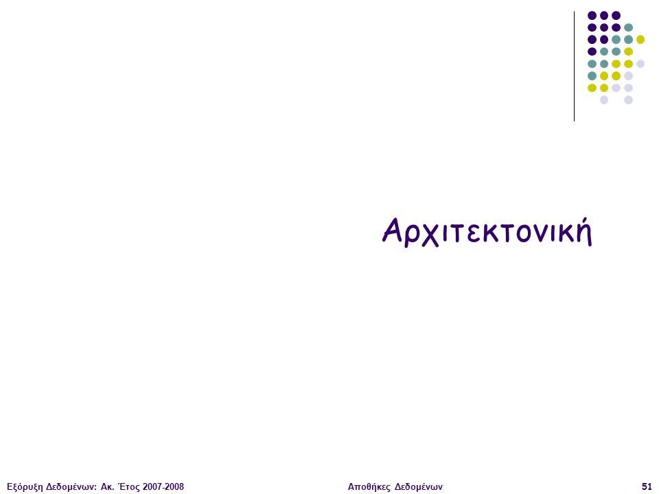 Εξόρυξη Δεδομένων: Ακ. Έτος 2007-2008Αποθήκες Δεδομένων51 Αρχιτεκτονική