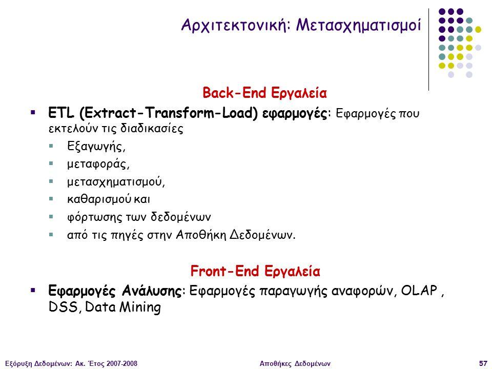 Εξόρυξη Δεδομένων: Ακ. Έτος 2007-2008Αποθήκες Δεδομένων57 Back-End Εργαλεία  ETL (Extract-Transform-Load) εφαρμογές: Εφαρμογές που εκτελούν τις διαδι