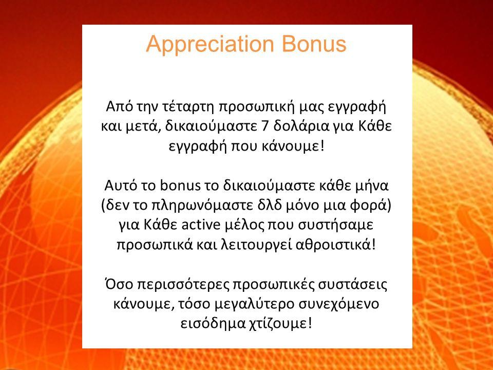 Appreciation Bonus Aπό την τέταρτη προσωπική μας εγγραφή και μετά, δικαιούμαστε 7 δολάρια για Κάθε εγγραφή που κάνουμε! Αυτό το bonus το δικαιούμαστε