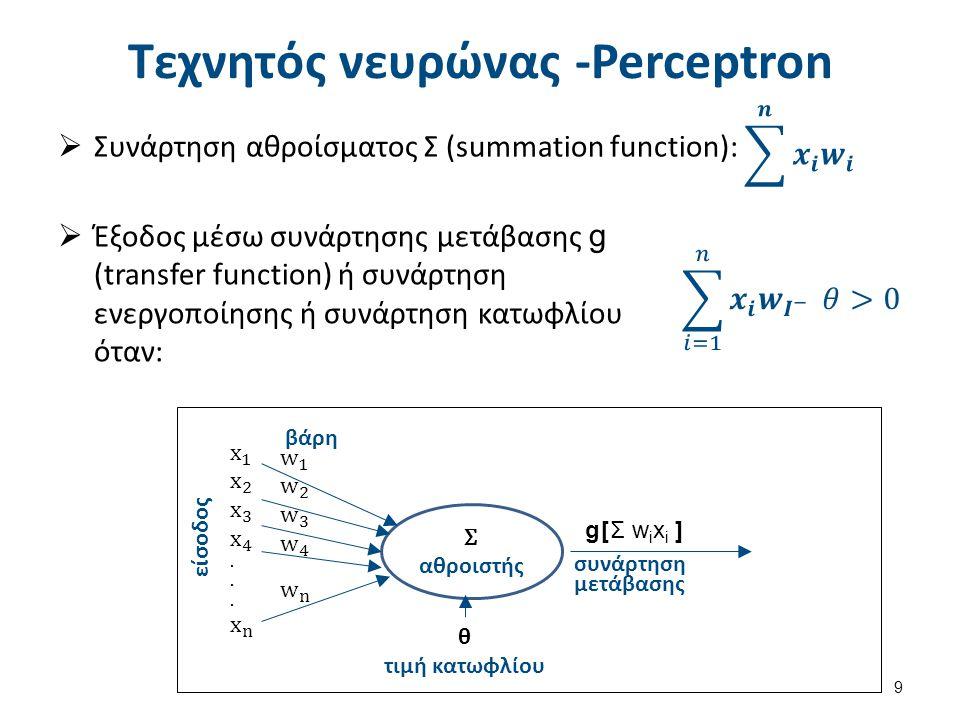 Τεχνητός νευρώνας -Perceptron  Συνάρτηση αθροίσματος Σ (summation function): 9  Έξοδος μέσω συνάρτησης μετάβασης g (transfer function) ή συνάρτηση ε