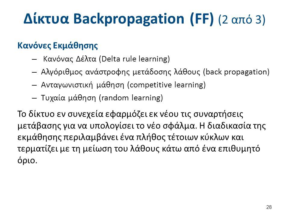 Δίκτυα Backpropagation (FF) (2 από 3) Κανόνες Εκμάθησης – Κανόνας Δέλτα (Delta rule learning) – Αλγόριθμος ανάστροφης μετάδοσης λάθους (back propagati