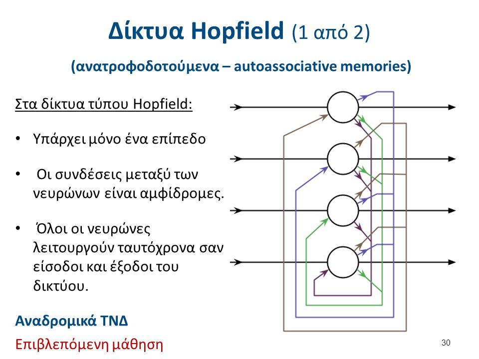 Δίκτυα Hopfield (1 από 2) (ανατροφοδοτούμενα – autoassociative memories) 30 Στα δίκτυα τύπου Hopfield: Υπάρχει μόνο ένα επίπεδο Οι συνδέσεις μεταξύ τω