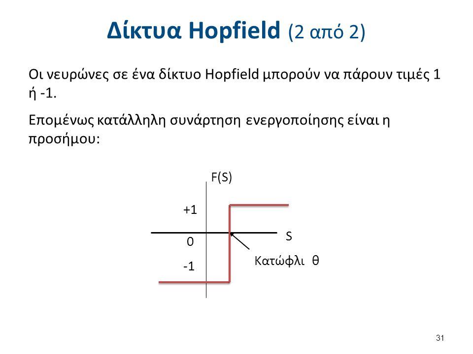 Δίκτυα Hopfield (2 από 2) Οι νευρώνες σε ένα δίκτυο Hopfield μπορούν να πάρουν τιμές 1 ή -1. Επομένως κατάλληλη συνάρτηση ενεργοποίησης είναι η προσήμ