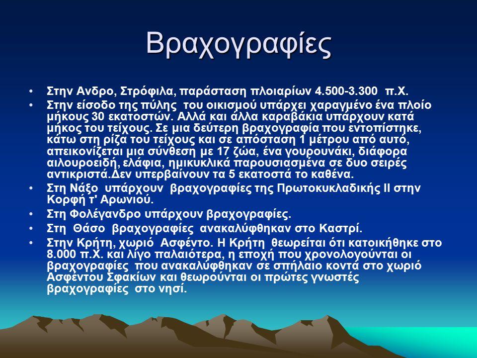 Βραχογραφίες Στην Ανδρο, Στρόφιλα, παράσταση πλοιαρίων 4.500-3.300 π.Χ.