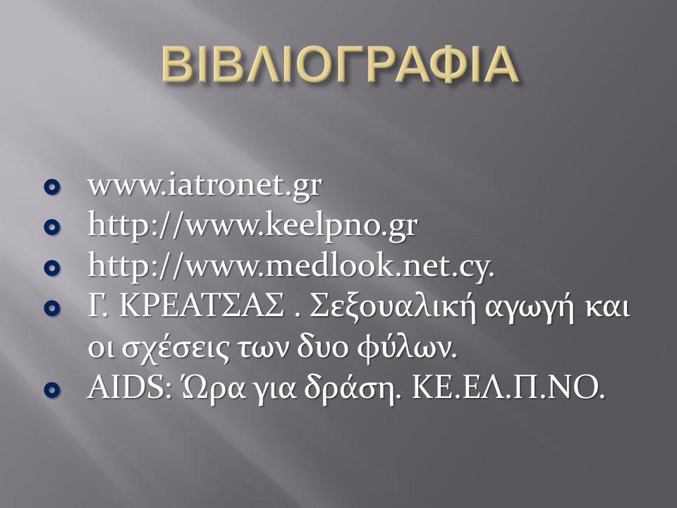  www.iatronet.gr  http://www.keelpno.gr  http://www.medlook.net.cy.  Γ. ΚΡΕΑΤΣΑΣ. Σεξουαλική αγωγή και οι σχέσεις των δυο φύλων.  AIDS: Ώρα για δ
