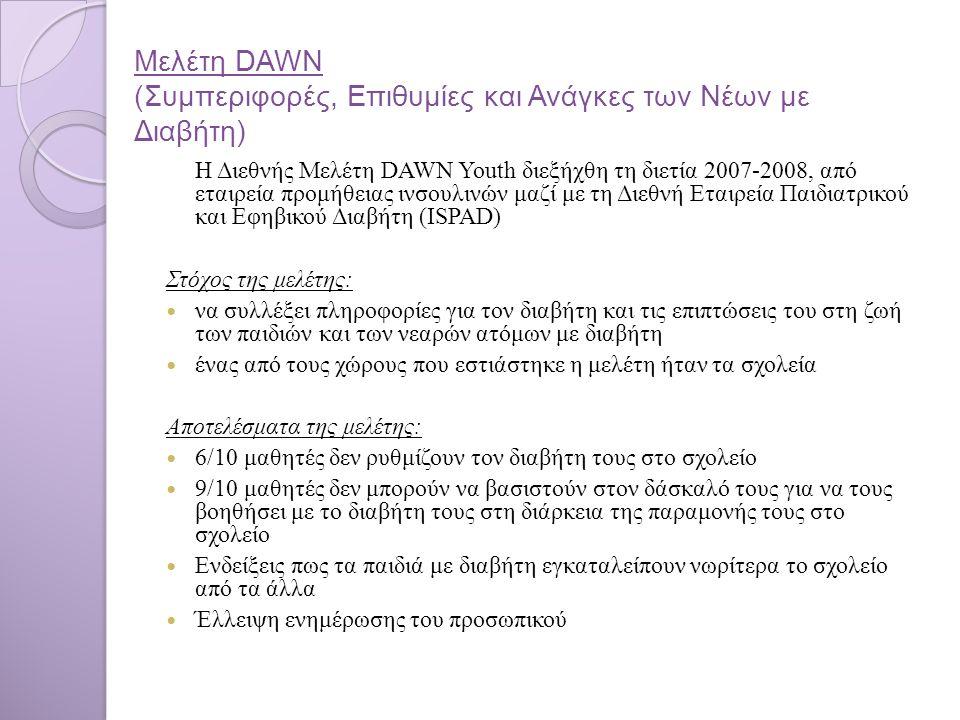 Μελέτη DAWN (Συμπεριφορές, Επιθυμίες και Ανάγκες των Νέων με Διαβήτη) Η Διεθνής Μελέτη DAWN Youth διεξήχθη τη διετία 2007-2008, από εταιρεία προμήθειας ινσουλινών μαζί με τη Διεθνή Εταιρεία Παιδιατρικού και Εφηβικού Διαβήτη (ISPAD) Στόχος της μελέτης: να συλλέξει πληροφορίες για τον διαβήτη και τις επιπτώσεις του στη ζωή των παιδιών και των νεαρών ατόμων με διαβήτη ένας από τους χώρους που εστιάστηκε η μελέτη ήταν τα σχολεία Αποτελέσματα της μελέτης: 6/10 μαθητές δεν ρυθμίζουν τον διαβήτη τους στο σχολείο 9/10 μαθητές δεν μπορούν να βασιστούν στον δάσκαλό τους για να τους βοηθήσει με το διαβήτη τους στη διάρκεια της παραμονής τους στο σχολείο Ενδείξεις πως τα παιδιά με διαβήτη εγκαταλείπουν νωρίτερα το σχολείο από τα άλλα Έλλειψη ενημέρωσης του προσωπικού