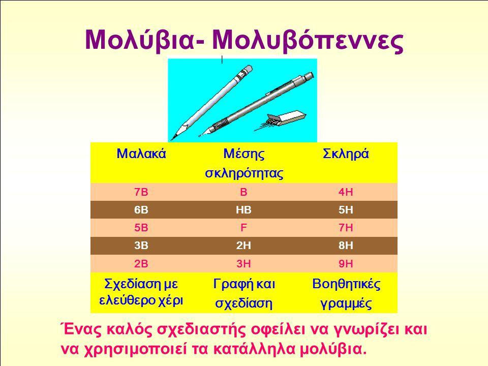 Μολύβια- Μολυβόπεννες Ένας καλός σχεδιαστής οφείλει να γνωρίζει και να χρησιμοποιεί τα κατάλληλα μολύβια. ΜαλακάΜέσης σκληρότητας Σκληρά 7ΒΒ4Η 6ΒΗΒ5Η