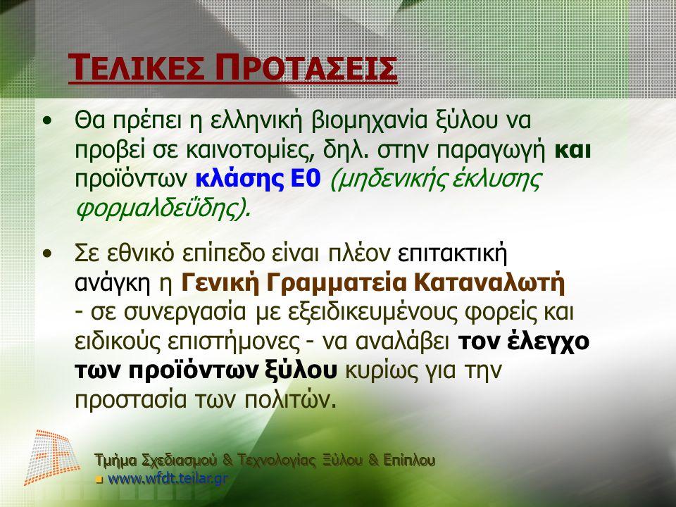 Τ ΕΛΙΚΕΣ Π ΡΟΤΑΣΕΙΣ Θα πρέπει η ελληνική βιομηχανία ξύλου να προβεί σε καινοτομίες, δηλ. στην παραγωγή και προϊόντων κλάσης Ε0 (μηδενικής έκλυσης φορμ