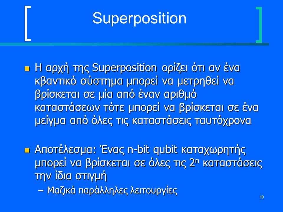 10 Superposition Η αρχή της Superposition ορίζει ότι αν ένα κβαντικό σύστημα μπορεί να μετρηθεί να βρίσκεται σε μία από έναν αριθμό καταστάσεων τότε μ