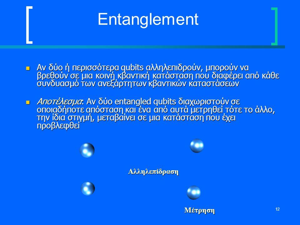 12 Entanglement Αν δύο ή περισσότερα qubits αλληλεπιδρούν, μπορούν να βρεθούν σε μια κοινή κβαντική κατάσταση που διαφέρει από κάθε συνδυασμό των ανεξ
