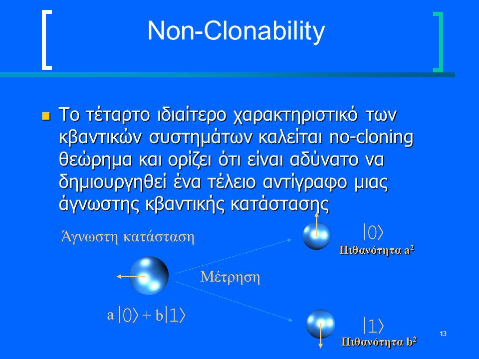 13 Non-Clonability Το τέταρτο ιδιαίτερο χαρακτηριστικό των κβαντικών συστημάτων καλείται no-cloning θεώρημα και ορίζει ότι είναι αδύνατο να δημιουργηθ