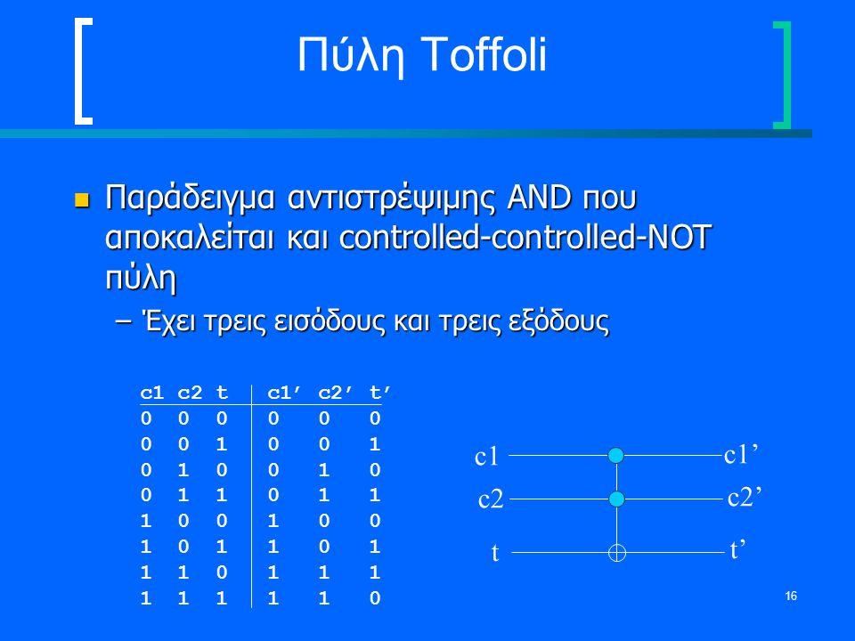 16 Πύλη Toffoli Παράδειγμα αντιστρέψιμης AND που αποκαλείται και controlled-controlled-NOT πύλη Παράδειγμα αντιστρέψιμης AND που αποκαλείται και contr