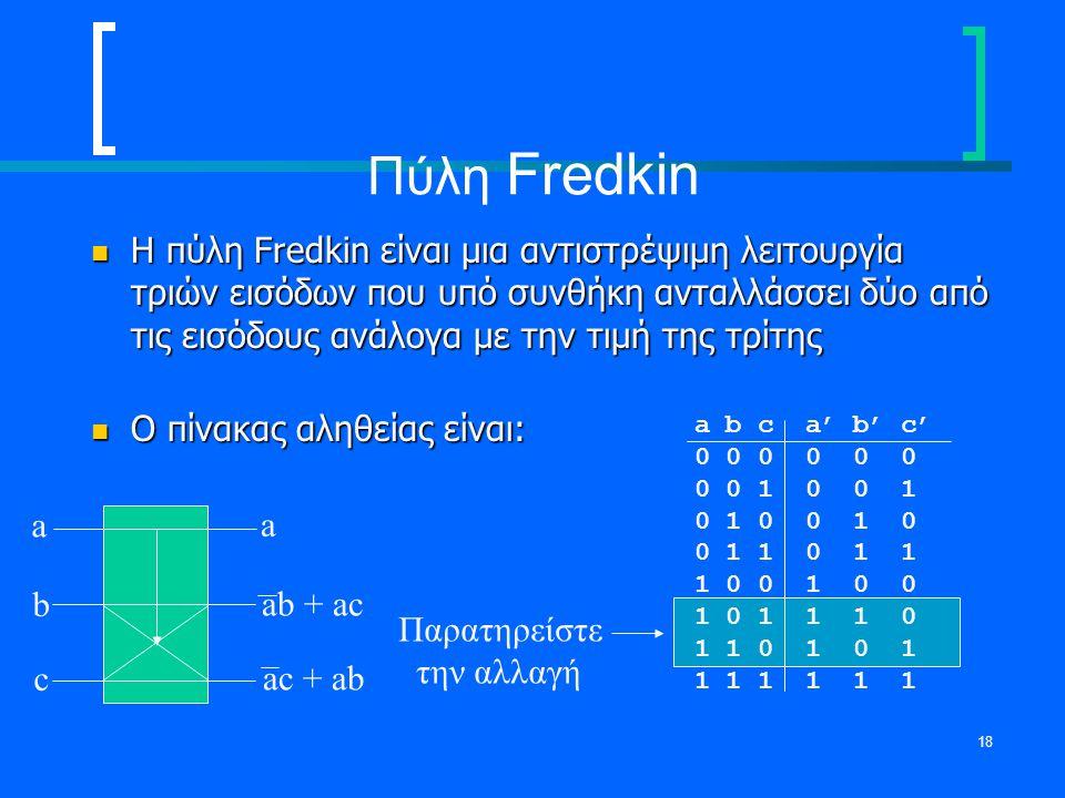 18 Πύλη Fredkin Η πύλη Fredkin είναι μια αντιστρέψιμη λειτουργία τριών εισόδων που υπό συνθήκη ανταλλάσσει δύο από τις εισόδους ανάλογα με την τιμή τη