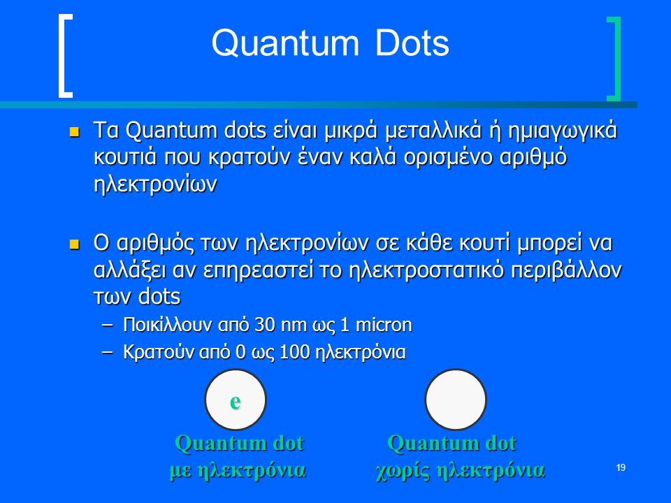 19 Quantum Dots Τα Quantum dots είναι μικρά μεταλλικά ή ημιαγωγικά κουτιά που κρατούν έναν καλά ορισμένο αριθμό ηλεκτρονίων Τα Quantum dots είναι μικρ