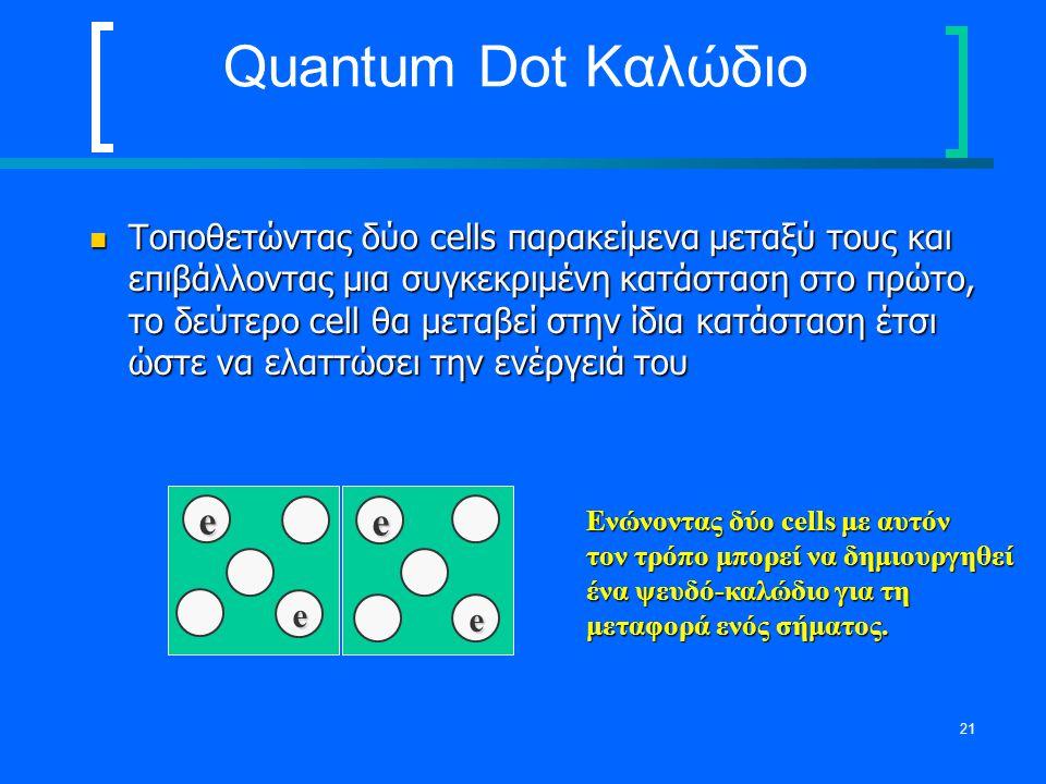 21 Quantum Dot Καλώδιο Τοποθετώντας δύο cells παρακείμενα μεταξύ τους και επιβάλλοντας μια συγκεκριμένη κατάσταση στο πρώτο, το δεύτερο cell θα μεταβε