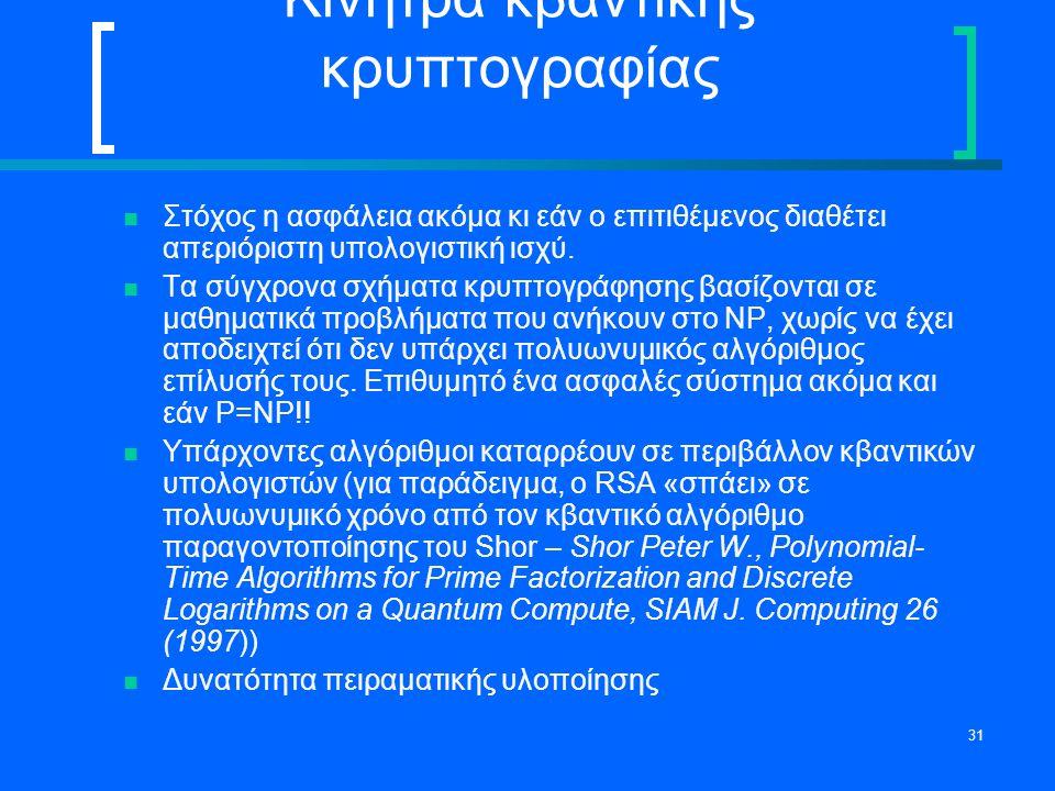 31 Κίνητρα κβαντικής κρυπτογραφίας Στόχος η ασφάλεια ακόμα κι εάν ο επιτιθέμενος διαθέτει απεριόριστη υπολογιστική ισχύ. Τα σύγχρονα σχήματα κρυπτογρά