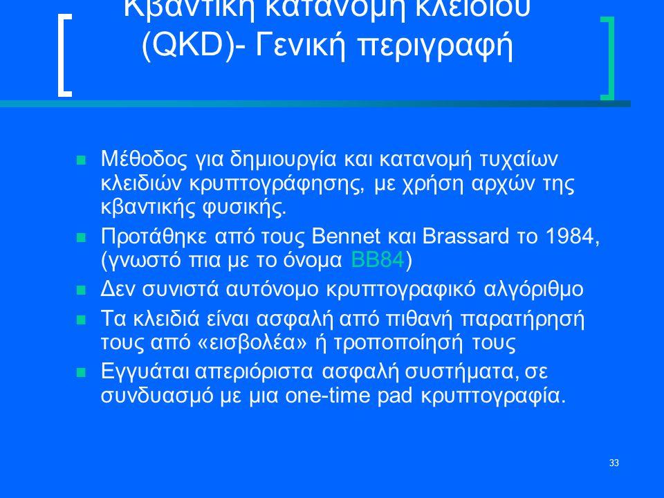 33 Κβαντική κατανομή κλειδιού (QKD)- Γενική περιγραφή Μέθοδος για δημιουργία και κατανομή τυχαίων κλειδιών κρυπτογράφησης, με χρήση αρχών της κβαντική
