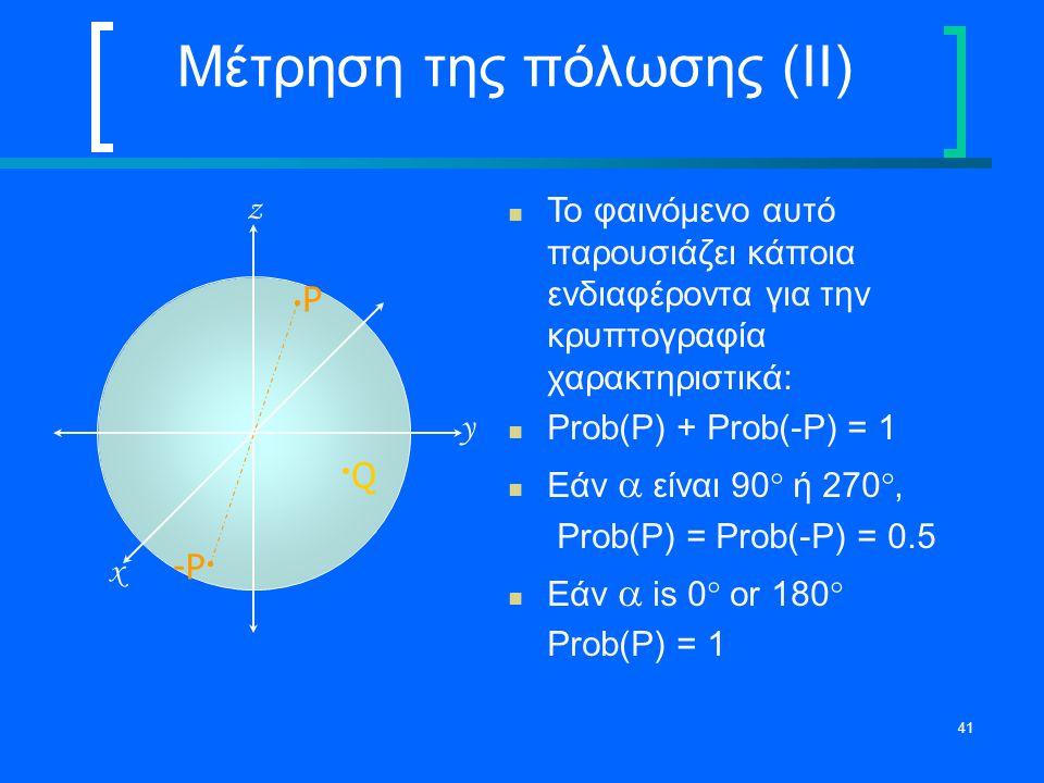 41 Μέτρηση της πόλωσης (II) Το φαινόμενο αυτό παρουσιάζει κάποια ενδιαφέροντα για την κρυπτογραφία χαρακτηριστικά: Prob(P) + Prob(-P) = 1 Εάν  είναι