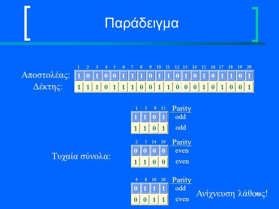 61 Παράδειγμα 1 2 3 4 5 6 7 8 9 10 11 12 13 14 15 16 17 18 19 20 10100111011010101101 Αποστολέας: 11101110011000101001 Δέκτης: Τυχαία σύνολα: 1101 odd