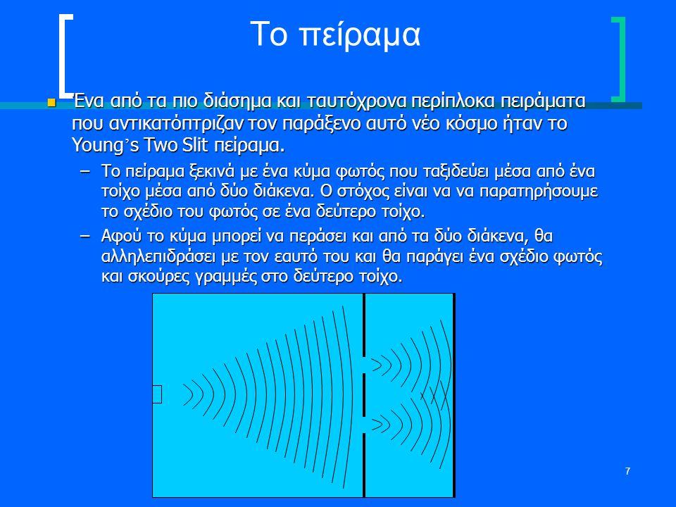 48 Σχηματική αναπαράσταση Τελική ακολουθία bits 1 – – 1 0 0 – 1 0 0 – 1 – 0 Εκτιμήσεις του δέκτη 1 0 0 1 0 0 1 1 0 0 0 1 0 0 Βάση ανίχνευσης στο δέκτη Σταλθείσα ακολουθία 1 0 1 1 0 0 1 1 0 0 1 1 1 0 Πηγή φωτός Πομπός Δέκτης Ανιχνευτής ως προς διαγώνια βάση Ανιχνευτής ως προς οριζόντια βάση Φίλτρα διαγώνιας πόλωση Φίλτρα οριζόντιας πόλωσης