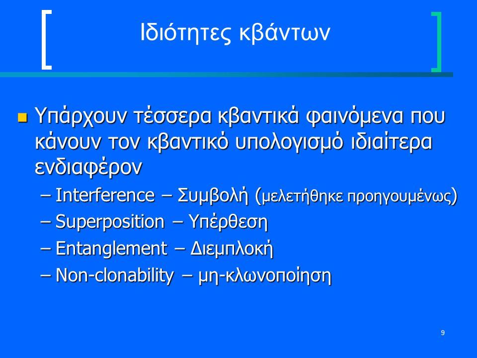 10 Superposition Η αρχή της Superposition ορίζει ότι αν ένα κβαντικό σύστημα μπορεί να μετρηθεί να βρίσκεται σε μία από έναν αριθμό καταστάσεων τότε μπορεί να βρίσκεται σε ένα μείγμα από όλες τις καταστάσεις ταυτόχρονα Η αρχή της Superposition ορίζει ότι αν ένα κβαντικό σύστημα μπορεί να μετρηθεί να βρίσκεται σε μία από έναν αριθμό καταστάσεων τότε μπορεί να βρίσκεται σε ένα μείγμα από όλες τις καταστάσεις ταυτόχρονα Αποτέλεσμα: Ένας n-bit qubit καταχωρητής μπορεί να βρίσκεται σε όλες τις 2 n καταστάσεις την ίδια στιγμή Αποτέλεσμα: Ένας n-bit qubit καταχωρητής μπορεί να βρίσκεται σε όλες τις 2 n καταστάσεις την ίδια στιγμή –Μαζικά παράλληλες λειτουργίες