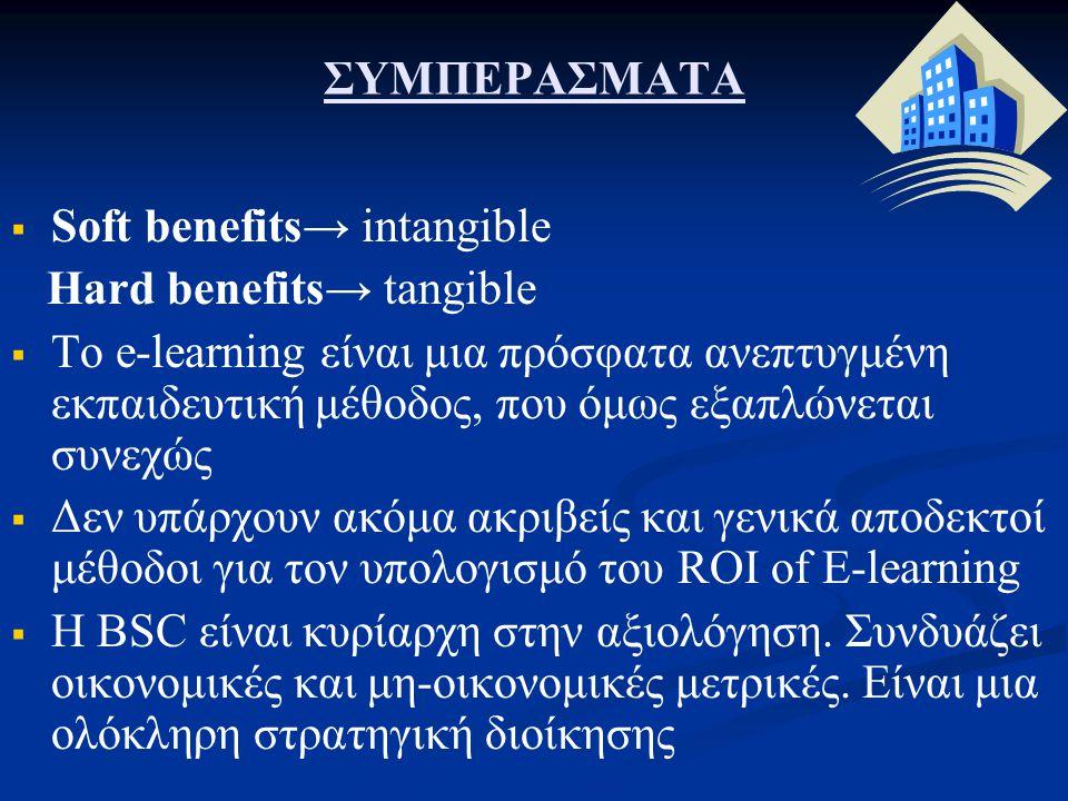ΣΥΜΠΕΡΑΣΜΑΤΑ   Soft benefits→ intangible Hard benefits→ tangible   Το e-learning είναι μια πρόσφατα ανεπτυγμένη εκπαιδευτική μέθοδος, που όμως εξα
