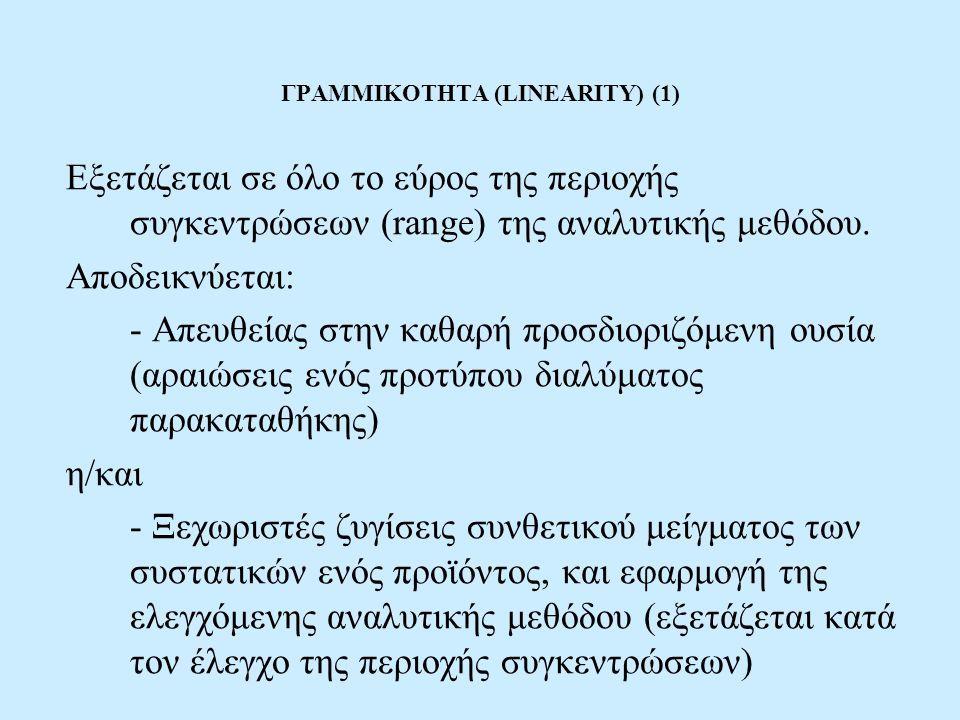 ΓΡΑΜΜΙΚΟΤΗΤΑ (LINEARITY) (1) Εξετάζεται σε όλο το εύρος της περιοχής συγκεντρώσεων (range) της αναλυτικής μεθόδου. Αποδεικνύεται: - Απευθείας στην καθ