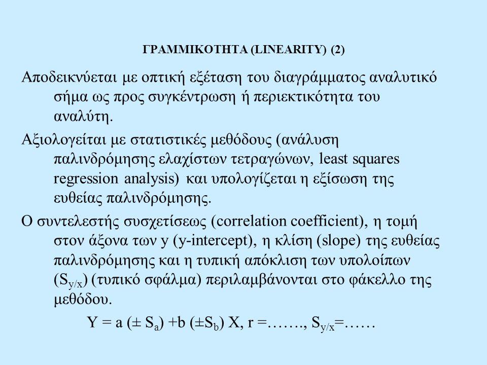ΓΡΑΜΜΙΚΟΤΗΤΑ (LINEARITY) (2) Αποδεικνύεται με οπτική εξέταση του διαγράμματος αναλυτικό σήμα ως προς συγκέντρωση ή περιεκτικότητα του αναλύτη. Αξιολογ