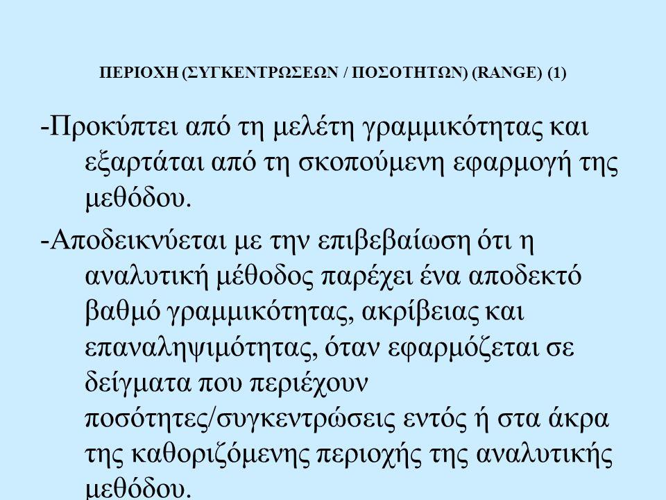 ΠΕΡΙΟΧΗ (ΣΥΓΚΕΝΤΡΩΣΕΩΝ / ΠΟΣΟΤΗΤΩΝ) (RANGE) (1) -Προκύπτει από τη μελέτη γραμμικότητας και εξαρτάται από τη σκοπούμενη εφαρμογή της μεθόδου. -Αποδεικν