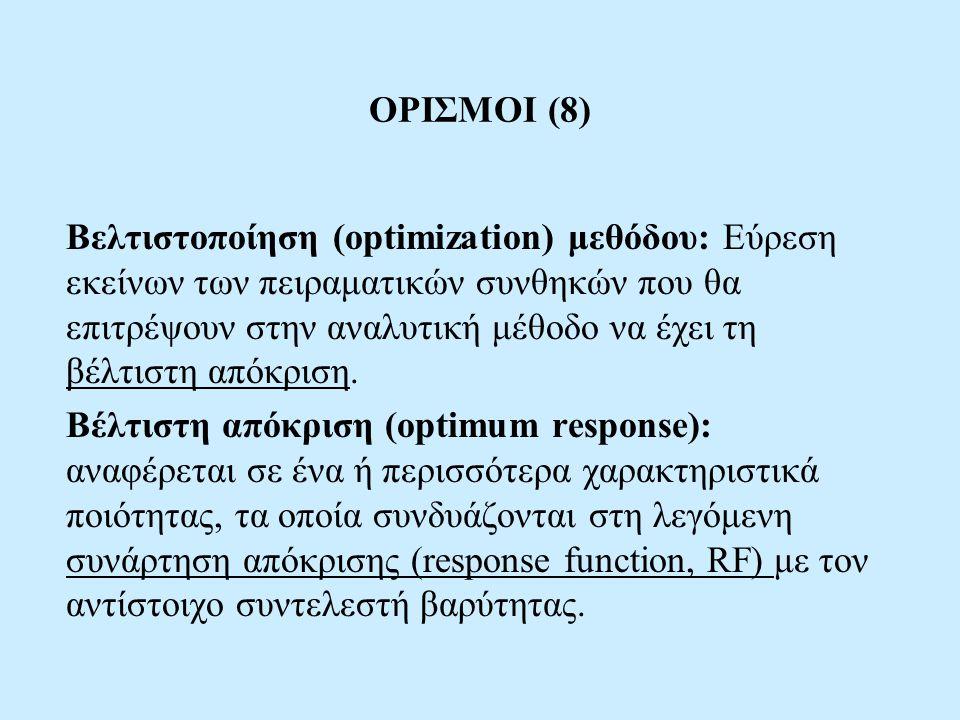 ΟΡΙΣΜΟΙ (8) Βελτιστοποίηση (optimization) μεθόδου: Εύρεση εκείνων των πειραματικών συνθηκών που θα επιτρέψουν στην αναλυτική μέθοδο να έχει τη βέλτιστ