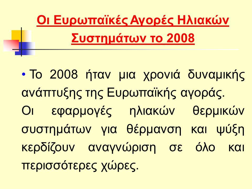 Οι Ευρωπαϊκές Αγορές Ηλιακών Συστημάτων το 2008 Το 2008 ήταν μια χρονιά δυναμικής ανάπτυξης της Ευρωπαϊκής αγοράς.