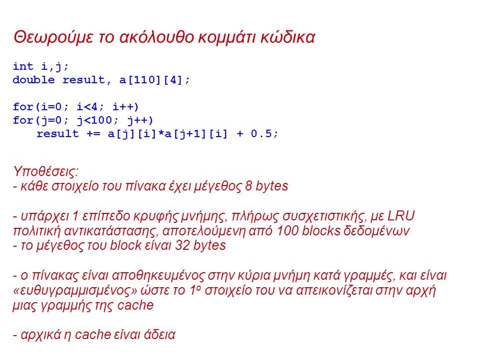 Θεωρούμε το ακόλουθο κομμάτι κώδικα int i,j; double result, a[110][4]; for(i=0; i<4; i++) for(j=0; j<100; j++) result += a[j][i]*a[j+1][i] + 0.5; Υποθέσεις: - κάθε στοιχείο του πίνακα έχει μέγεθος 8 bytes - υπάρχει 1 επίπεδο κρυφής μνήμης, πλήρως συσχετιστικής, με LRU πολιτική αντικατάστασης, αποτελούμενη από 100 blocks δεδομένων - το μέγεθος του block είναι 32 bytes - ο πίνακας είναι αποθηκευμένος στην κύρια μνήμη κατά γραμμές, και είναι «ευθυγραμμισμένος» ώστε το 1 ο στοιχείο του να απεικονίζεται στην αρχή μιας γραμμής της cache - αρχικά η cache είναι άδεια