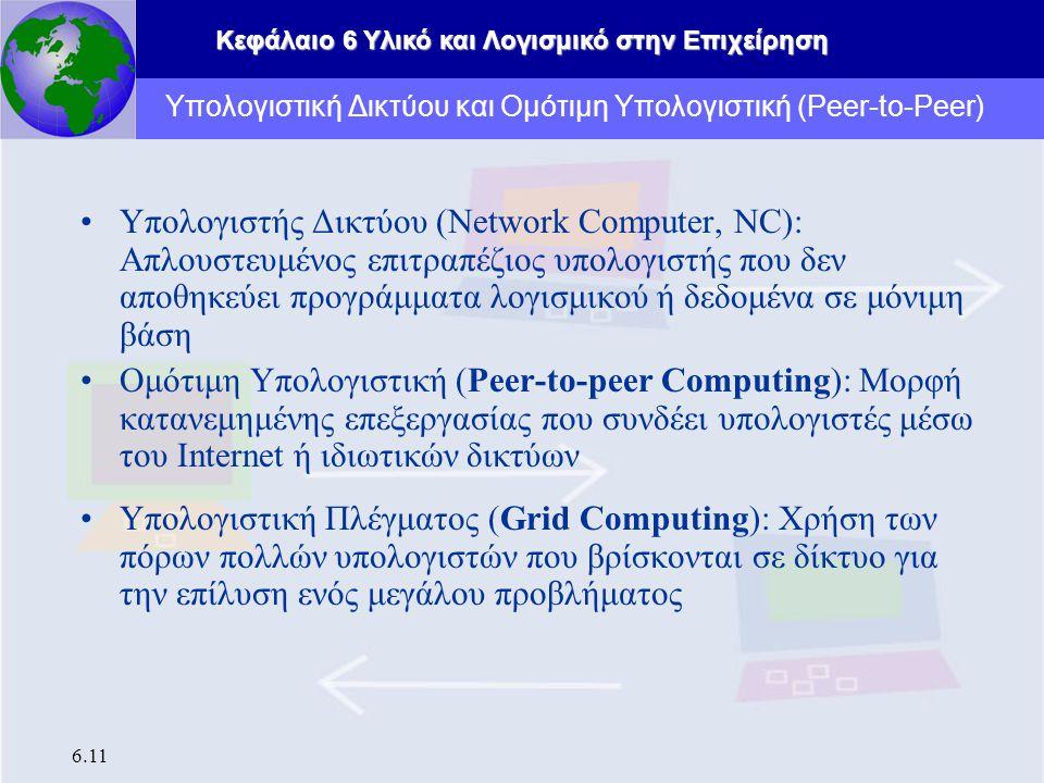 Κεφάλαιο 6 Υλικό και Λογισμικό στην Επιχείρηση 6.11 Υπολογιστής Δικτύου (Network Computer, NC): Απλουστευμένος επιτραπέζιος υπολογιστής που δεν αποθηκεύει προγράμματα λογισμικού ή δεδομένα σε μόνιμη βάση Ομότιμη Υπολογιστική (Peer-to-peer Computing): Μορφή κατανεμημένης επεξεργασίας που συνδέει υπολογιστές μέσω του Internet ή ιδιωτικών δικτύων Υπολογιστική Πλέγματος (Grid Computing): Χρήση των πόρων πολλών υπολογιστών που βρίσκονται σε δίκτυο για την επίλυση ενός μεγάλου προβλήματος Υπολογιστική Δικτύου και Ομότιμη Υπολογιστική (Peer-to-Peer)
