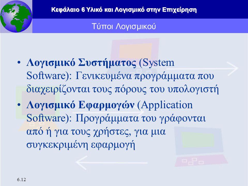 Κεφάλαιο 6 Υλικό και Λογισμικό στην Επιχείρηση 6.12 Λογισμικό Συστήματος (System Software): Γενικευμένα προγράμματα που διαχειρίζονται τους πόρους του υπολογιστή Λογισμικό Εφαρμογών (Application Software): Προγράμματα του γράφονται από ή για τους χρήστες, για μια συγκεκριμένη εφαρμογή Τύποι Λογισμικού