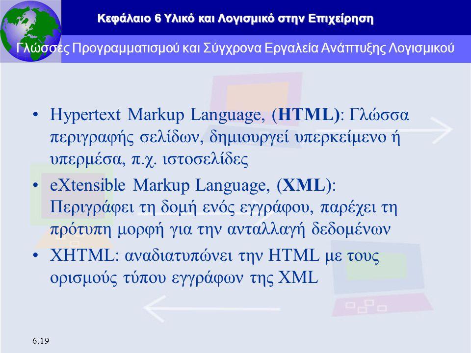 Κεφάλαιο 6 Υλικό και Λογισμικό στην Επιχείρηση 6.19 Hypertext Markup Language, (HTML): Γλώσσα περιγραφής σελίδων, δημιουργεί υπερκείμενο ή υπερμέσα, π.χ.