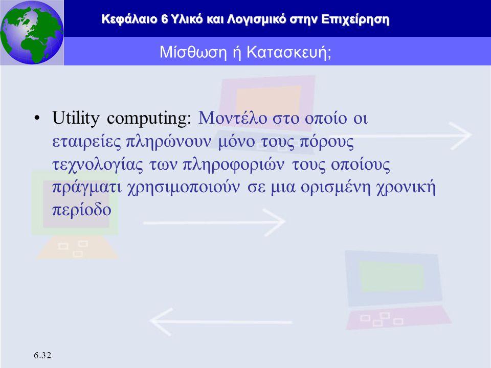 Κεφάλαιο 6 Υλικό και Λογισμικό στην Επιχείρηση 6.32 Utility computing: Μοντέλο στο οποίο οι εταιρείες πληρώνουν μόνο τους πόρους τεχνολογίας των πληροφοριών τους οποίους πράγματι χρησιμοποιούν σε μια ορισμένη χρονική περίοδο Μίσθωση ή Κατασκευή;