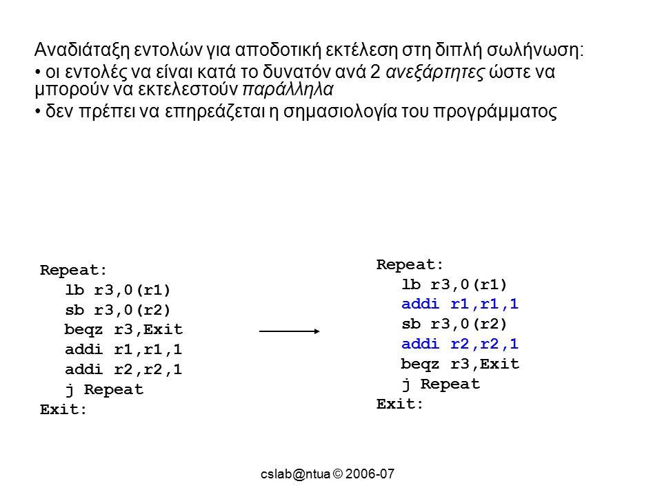 cslab@ntua © 2006-07 Repeat: lb r3,0(r1) sb r3,0(r2) beqz r3,Exit addi r1,r1,1 addi r2,r2,1 j Repeat Exit: Αναδιάταξη εντολών για αποδοτική εκτέλεση στη διπλή σωλήνωση: οι εντολές να είναι κατά το δυνατόν ανά 2 ανεξάρτητες ώστε να μπορούν να εκτελεστούν παράλληλα δεν πρέπει να επηρεάζεται η σημασιολογία του προγράμματος Repeat: lb r3,0(r1) addi r1,r1,1 sb r3,0(r2) addi r2,r2,1 beqz r3,Exit j Repeat Exit: