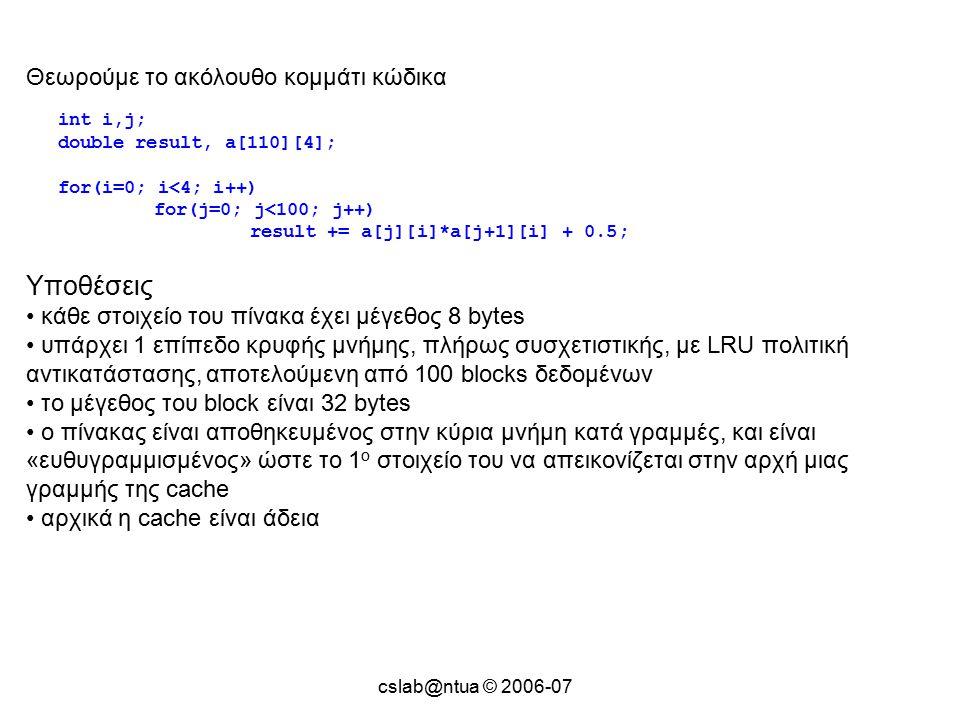 cslab@ntua © 2006-07 Θεωρούμε το ακόλουθο κομμάτι κώδικα int i,j; double result, a[110][4]; for(i=0; i<4; i++) for(j=0; j<100; j++) result += a[j][i]*a[j+1][i] + 0.5; Υποθέσεις κάθε στοιχείο του πίνακα έχει μέγεθος 8 bytes υπάρχει 1 επίπεδο κρυφής μνήμης, πλήρως συσχετιστικής, με LRU πολιτική αντικατάστασης, αποτελούμενη από 100 blocks δεδομένων το μέγεθος του block είναι 32 bytes ο πίνακας είναι αποθηκευμένος στην κύρια μνήμη κατά γραμμές, και είναι «ευθυγραμμισμένος» ώστε το 1 ο στοιχείο του να απεικονίζεται στην αρχή μιας γραμμής της cache αρχικά η cache είναι άδεια