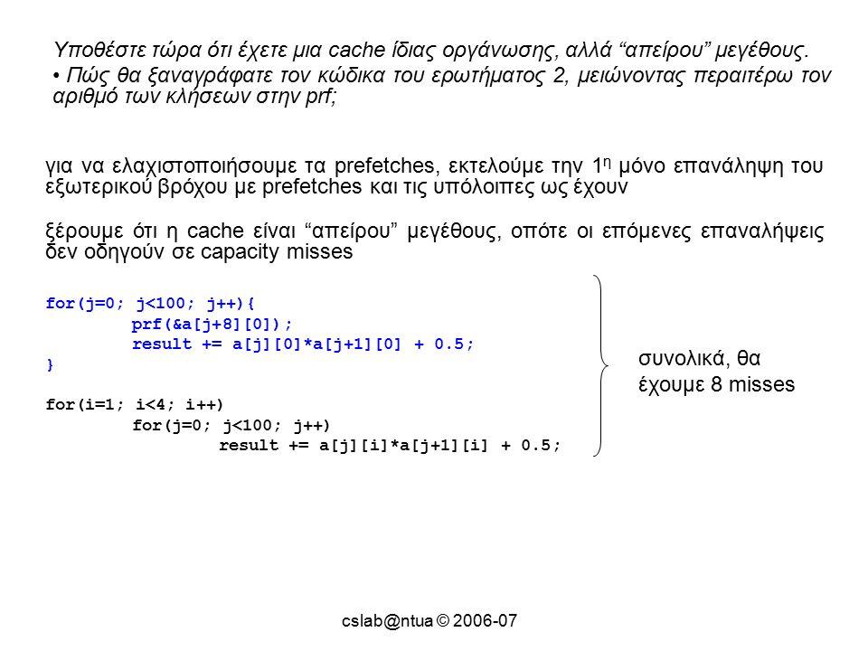 cslab@ntua © 2006-07 Υποθέστε τώρα ότι έχετε μια cache ίδιας οργάνωσης, αλλά απείρου μεγέθους.