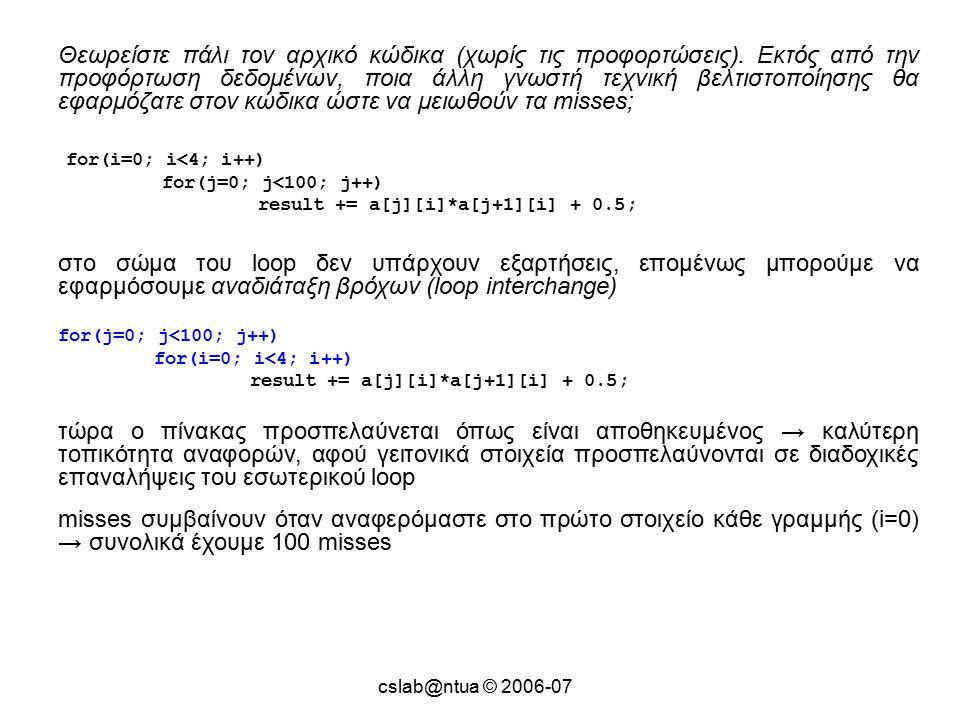 cslab@ntua © 2006-07 Θεωρείστε πάλι τον αρχικό κώδικα (χωρίς τις προφορτώσεις).