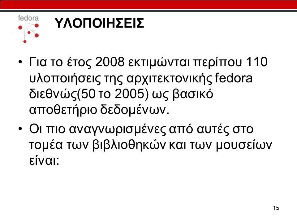 15 ΥΛΟΠΟΙΗΣΕΙΣ Για το έτος 2008 εκτιμώνται περίπου 110 υλοποιήσεις της αρχιτεκτονικής fedora διεθνώς(50 το 2005) ως βασικό αποθετήριο δεδομένων. Οι πι
