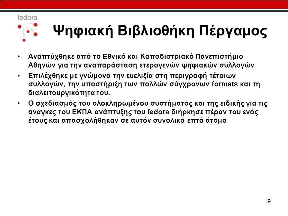 19 Ψηφιακή Βιβλιοθήκη Πέργαμος Αναπτύχθηκε από το Εθνικό και Καποδιστριακό Πανεπιστήμιο Αθηνών για την αναπαράσταση ετερογενών ψηφιακών συλλογών Επιλέ