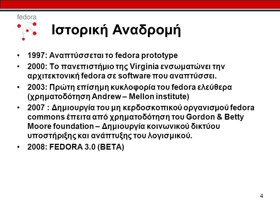 4 Ιστορική Αναδρομή 1997: Αναπτύσσεται το fedora prototype 2000: Το πανεπιστήμιο της Virginia ενσωματώνει την αρχιτεκτονική fedora σε software που αναπτύσσει.